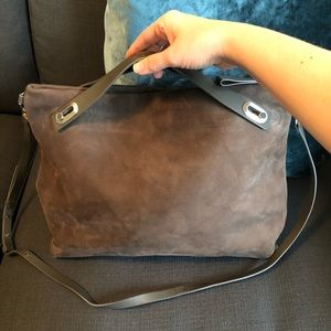 Suede and leather bag with crossbody strap